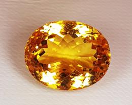 13.17 ct Top Quality Gem Oval Cut Golden Whisky Color Natural Citrine