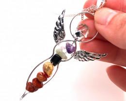 Seven Chakra - natural stones - Angel pendant & Silver Chain 606