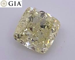 1.51 ct GIA Certified Diamond - Fancy Light Yellow - Cushion $5K++