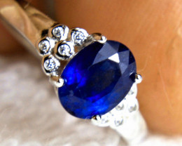 11.13 Tcw. Sapphire Sterling Silver Gold Plated Ring - sz 6.75