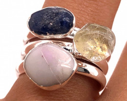 Three Raw Agate Gemstone in electroformed Silver Plated Ring BR 628