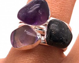 Three Raw Agate Gemstone in electroformed Silver Plated Ring BR 629