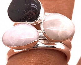 Three Raw Agate Gemstone in electroformed Silver Plated Ring BR 630