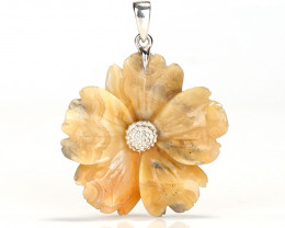Natural Gemstone Crazy Lace Agate Handcarved Flower Pendant, 925 Sterling S