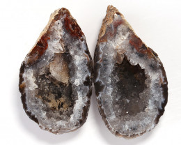 Sparkling Brazil Agate Crystal Geode, Matching polished, Brazil Agate Cryst