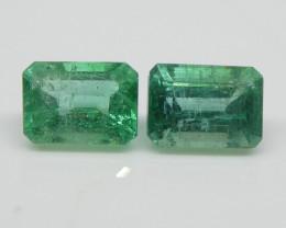 2.58ct Emerald Pair Emerald Cut
