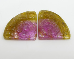 17.2ct Watermelon Tourmaline Flower Carving Flower Carving Matching Pair