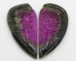 22ct Watermelon Tourmaline Flower Carving Flower Carving Matching Pair