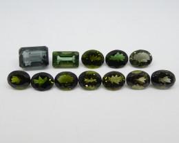 47.2ct Green/Blue Tourmaline Oval/Emerald Cut Wholesale Lot