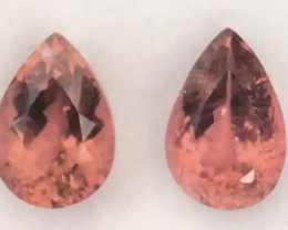 Bright Pinkish Orange Pear Shape Tourmaline Pair - 2243