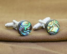 Genuine Abalone/ Paua Shell Cuff Links, vivid iridescence