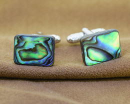 Genuine Abalone/ Paua Shell Rectangular Cuff Links