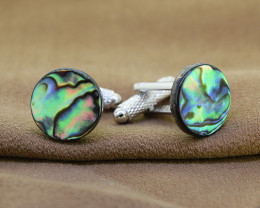 Genuine Abalone/ Paua Shell Cuff Links