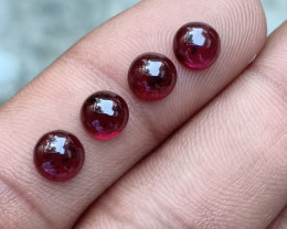 6MM GARNET ROUND 4PCS LOT NATURAL UNTREATED CABOCHON VA2432