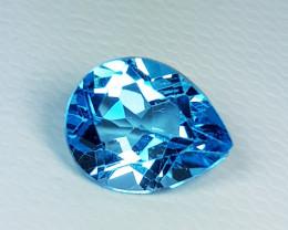 2.89 ct AAA Quality Gem Stunning Excellent Pear Cut Swiss Blue Topaz