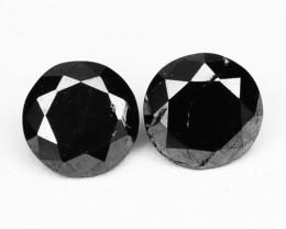 0.42 Cts Natural Coal Black Diamond Round Pair  Africa