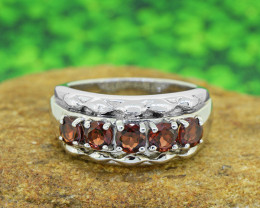 Natural Hessonite Garnet 925 Sterling Silver Ring SIZE  (SSR0063 )