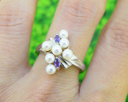 Pearl & Iolite 925 Sterling Silver Ring (SSR0547)