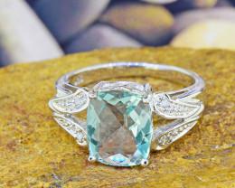 Natural Fluorite & Diamond 925 Sterling Silver Ring SSR0044