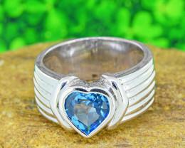 Natural Blue Topaz 925 Sterling Silver Ring (SSR0537 )
