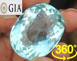 73.39cts  GIA Aquamarine,  360 View $18,000