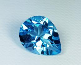 2.69 ct Top Quality Gem Stunning Pear Cut Swiss Blue Topaz
