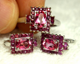 "85.51 Tcw. Topaz Ruby Silver Earrings, Pendant, 18"" Chain - Fancy and Fun"