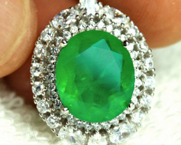 70.32 Tcw. Emerald Doublet, CZ, 925 Silver, White Gold Plate, 925 Chain