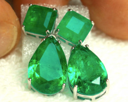 26.3 Tcw. Emerald Doublet Earrings, CZ, 925 Silver, White Gold Plate