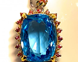 Blue Pool' Swiss Blue Topaz Sapphire Pendant 14kt Gold over Sterling Silver