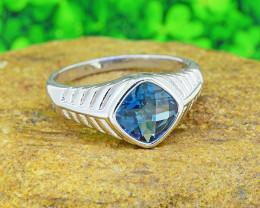 Natural Blue Topaz GENTS' 925 Sterling Silver Ring Size 10 (SSR0540)