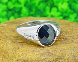 Natural Black Sapphire & Topaz GENTS' 925 Sterling Silver Ring Size 10