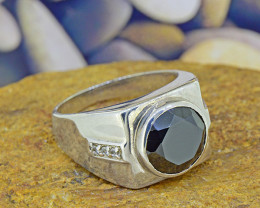 Natural Black Spinel & Topaz Gents' 925 Silver Ring Size 7.5