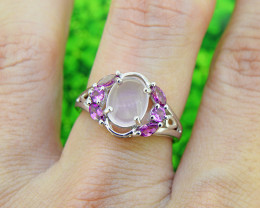 Natural Rose Quartz & Garnet 925 Sterling Silver Ring (SSR0551)
