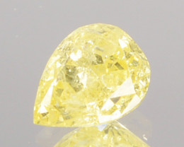 0.26 Cts Natural Untreated Diamond Fancy Yellow Pear Cut Africa