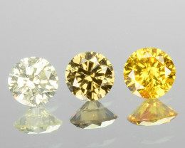 0.20 Cts Natural Untreated Diamond Fancy Yellow 3 Pcs Round Africa