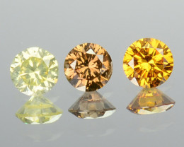 0.22 Cts Natural Untreated Diamond Fancy Yellow 3 Pcs Round Africa