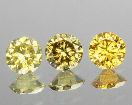 0.24 Cts Natural Untreated Diamond Fancy Yellow 3 Pcs Round Africa