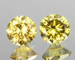 0.17 Cts Natural Untreated Diamond Fancy Yellow 2 Pcs Round Africa