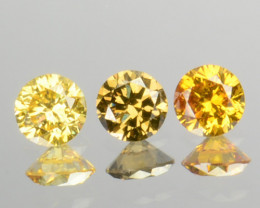 0.23 Cts Natural Untreated Diamond Fancy Yellow 3 Pcs Round Africa