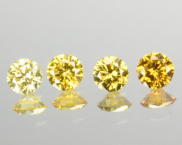 0.30 Cts Natural Untreated Diamond Fancy Yellow 4 Pcs Round Africa
