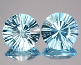 ~PAIR~ 5.50 Cts Natural Sky Blue Topaz 9mm Round Concave Cut Brazil