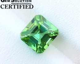 GSGC CERTIFIED 3.45 Ct Natural Bi Color Asscher Cut Tourmaline Gemstone
