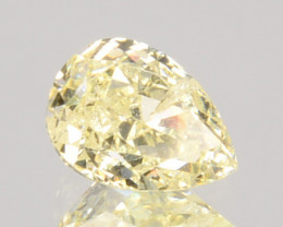 0.28 Cts Natural Untreated Diamond Fancy Yellow Pear Cut Africa