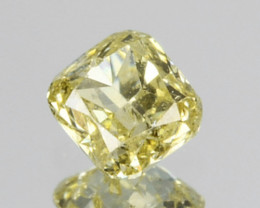 0.15 Cts Natural Untreated Diamond Fancy Yellow Cushion Cut Africa