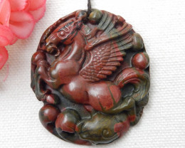 Carved Horse Pendant,Multi Color Jasper Pendant,Wholesale Gemstone E75