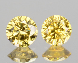 0.16 Cts Natural Untreated Diamond Fancy Yellow 2 Pcs Round Africa