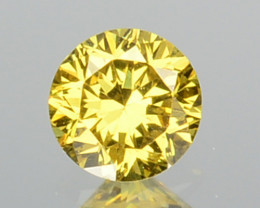 0.12 Cts Natural Untreated Diamond Fancy Yellow Round Cut Africa