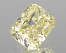0.17 Cts Natural Untreated Diamond Fancy Yellow Cushion Cut Africa