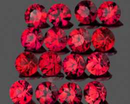 2.50 mm Round 16pcs 1.12cts Red Spinel [VVS]